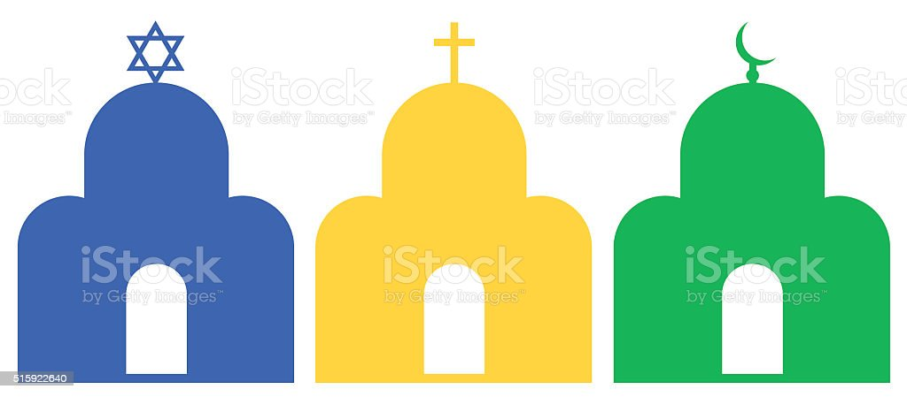 Three temples vector art illustration