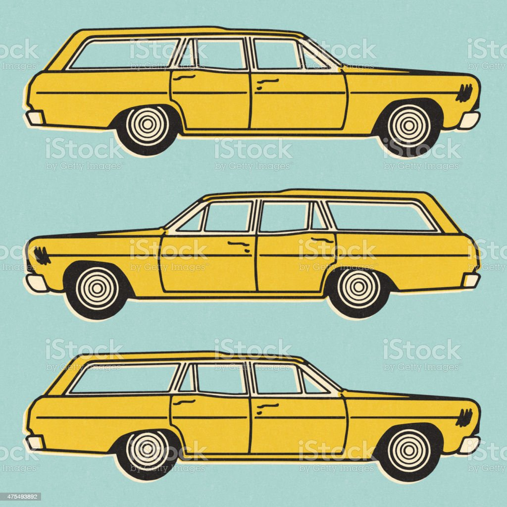 Three Views of a Yellow Station Wagon vector art illustration