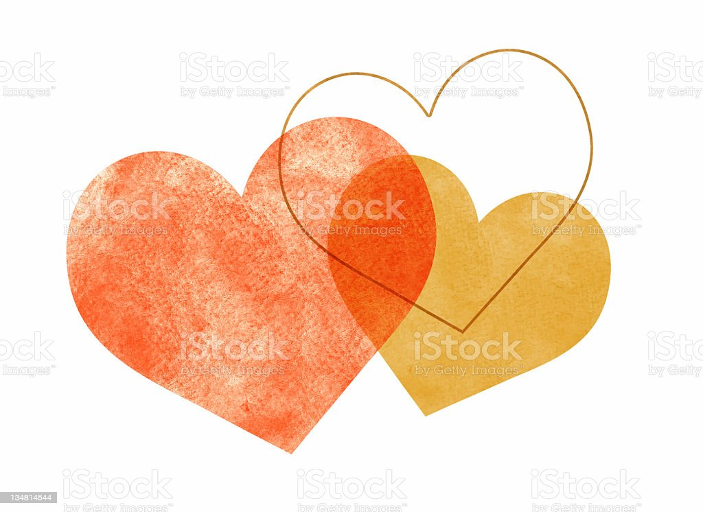 Three Watercolor Hearts Overlapping vector art illustration