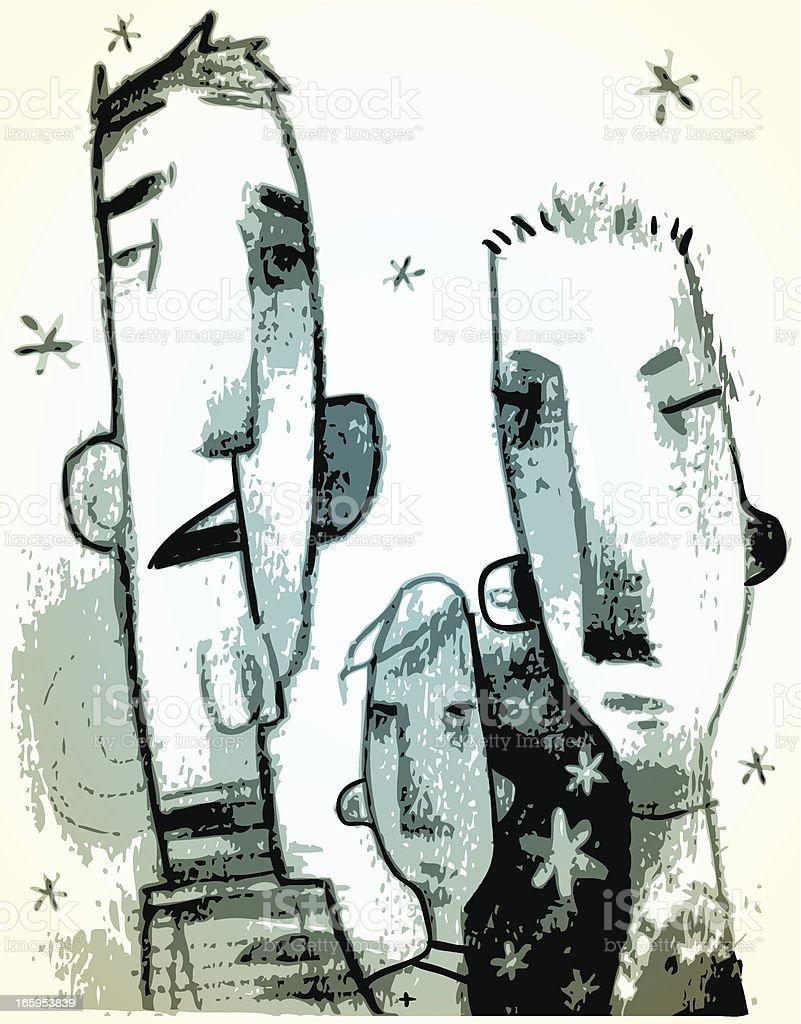 Three Weirdos vector art illustration