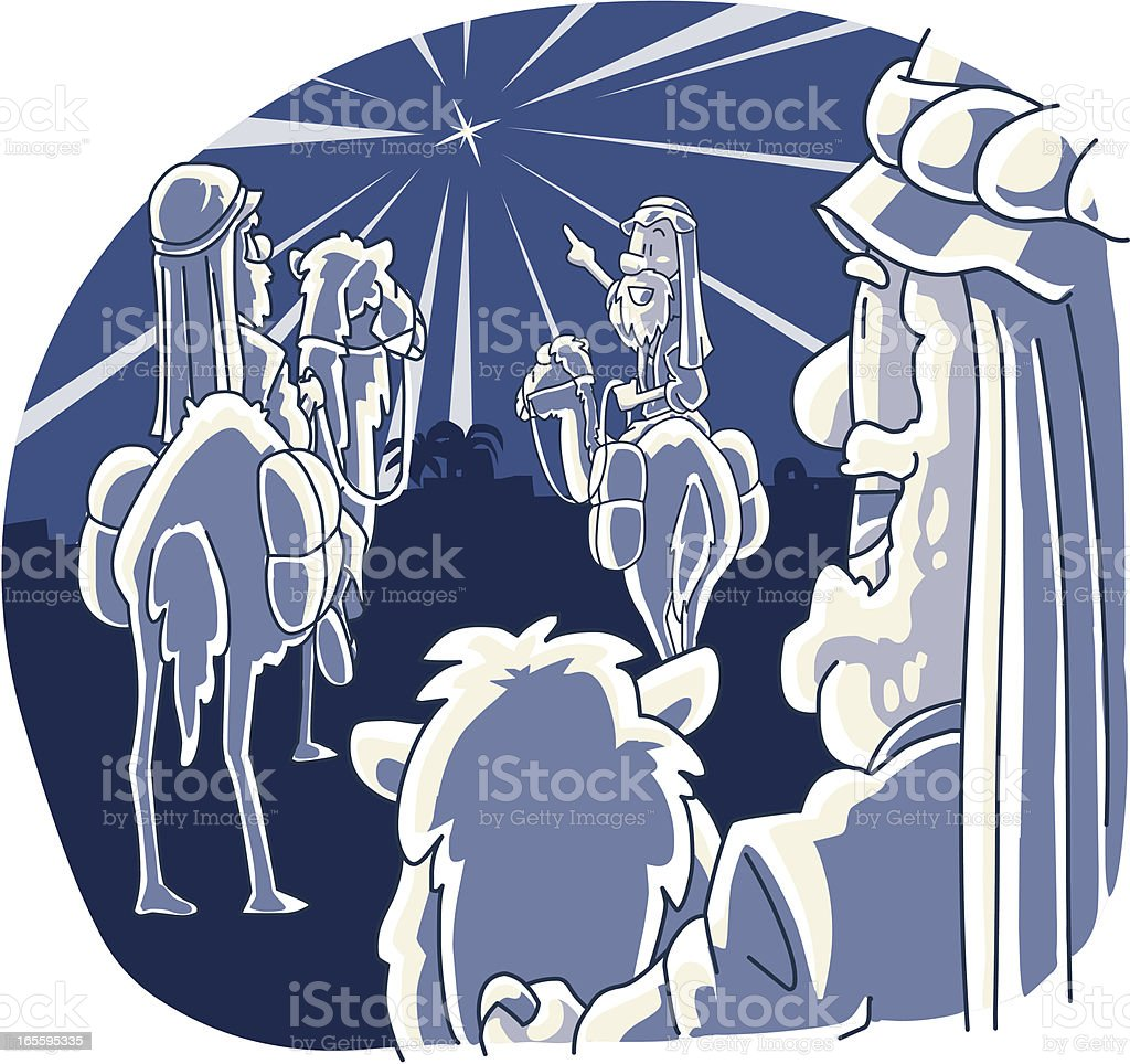 Three Wise Men and the star vector art illustration