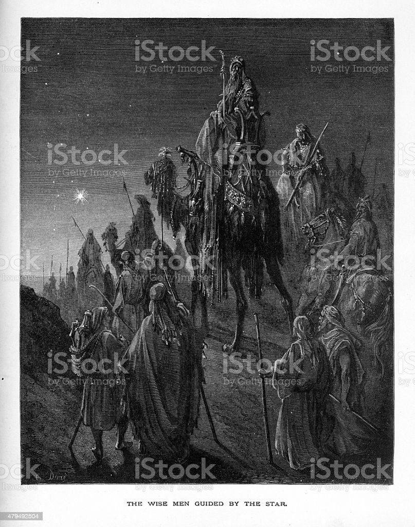 Three Wise Men Guided by the Star Biblical Engraving vector art illustration