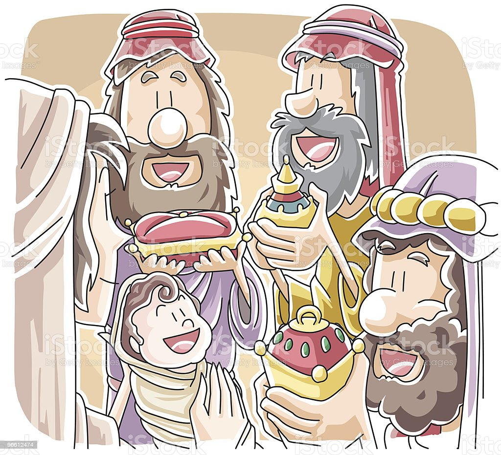 Three Wisemen with Gifts for Baby Jesus vector art illustration