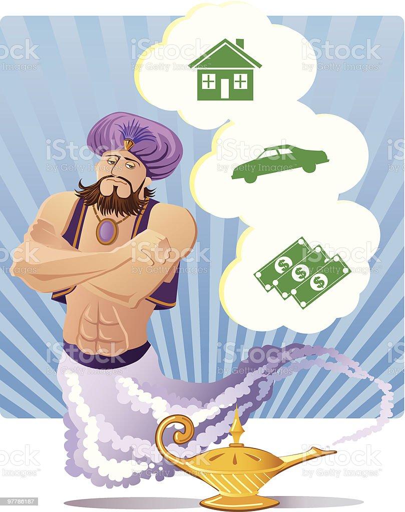Three wishes, Magic Genie vector art illustration