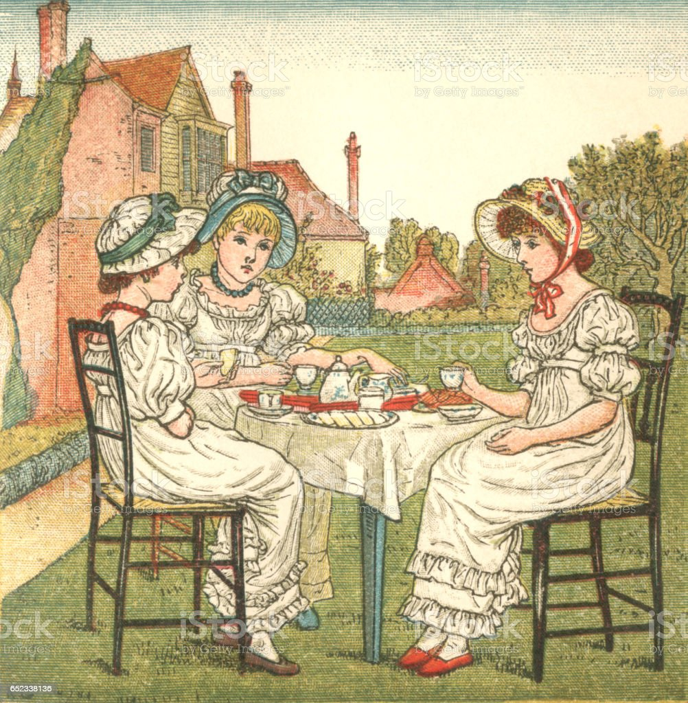 Three young Regency style ladies taking tea in a garden vector art illustration