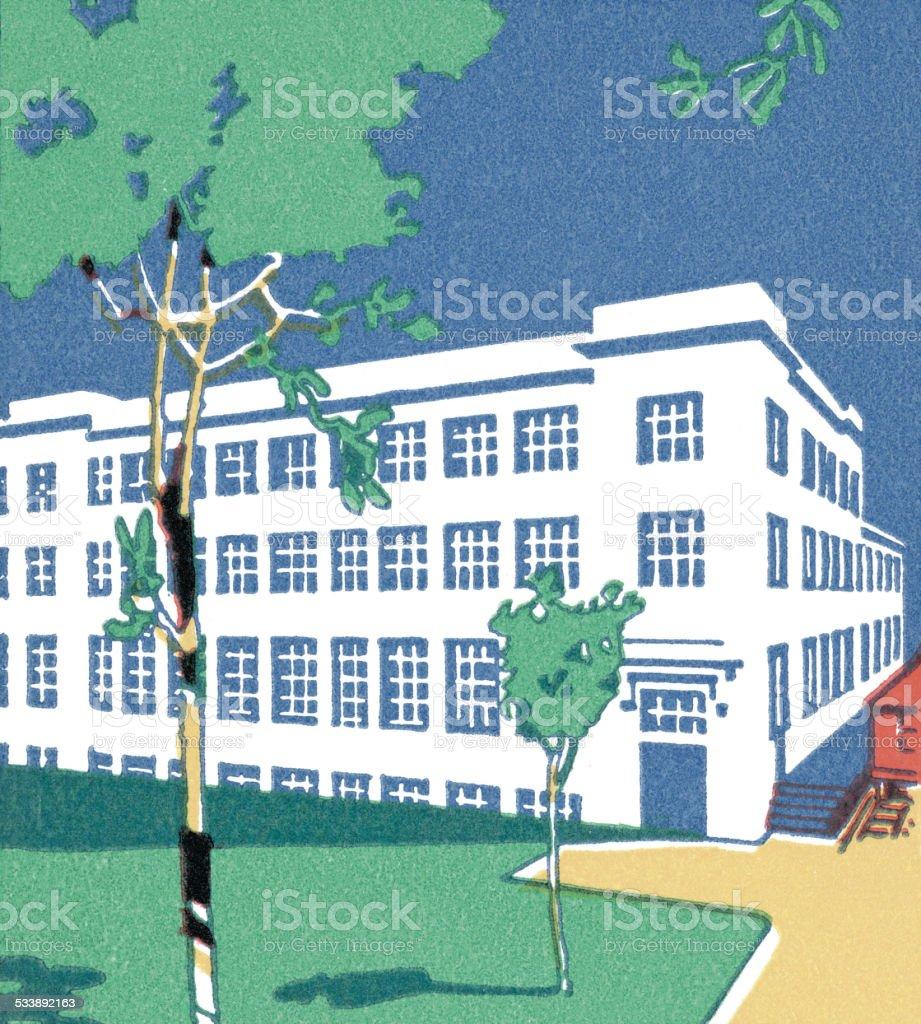 Three-Story Building vector art illustration