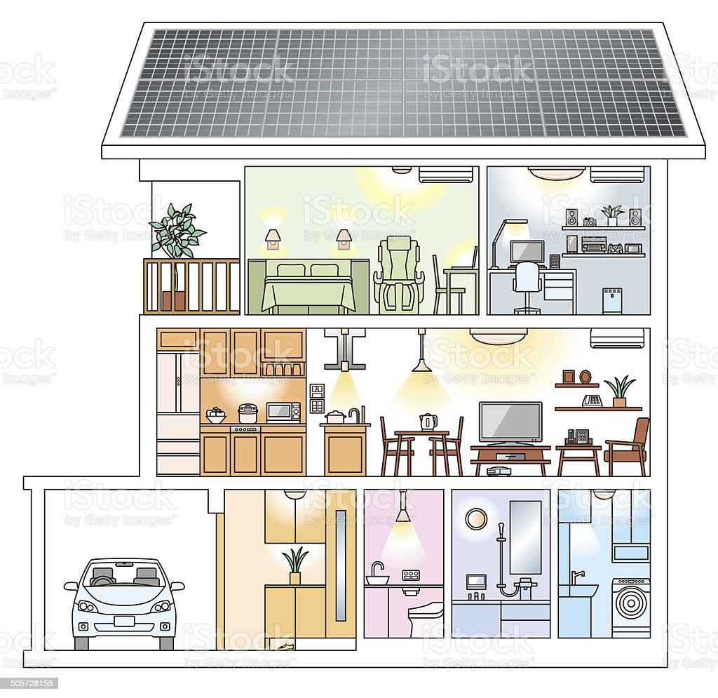 Three-story house of photovoltaic power generation (Japanese style) vector art illustration