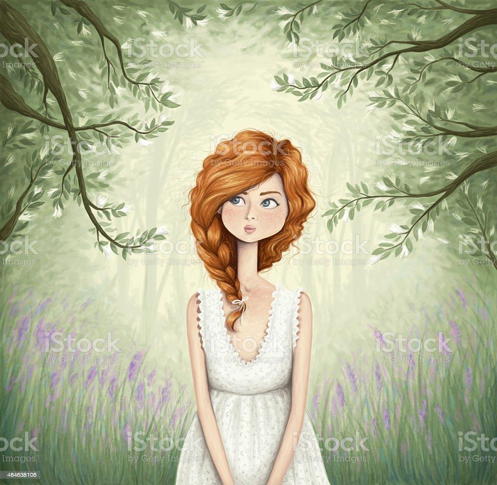 Through the forest vector art illustration