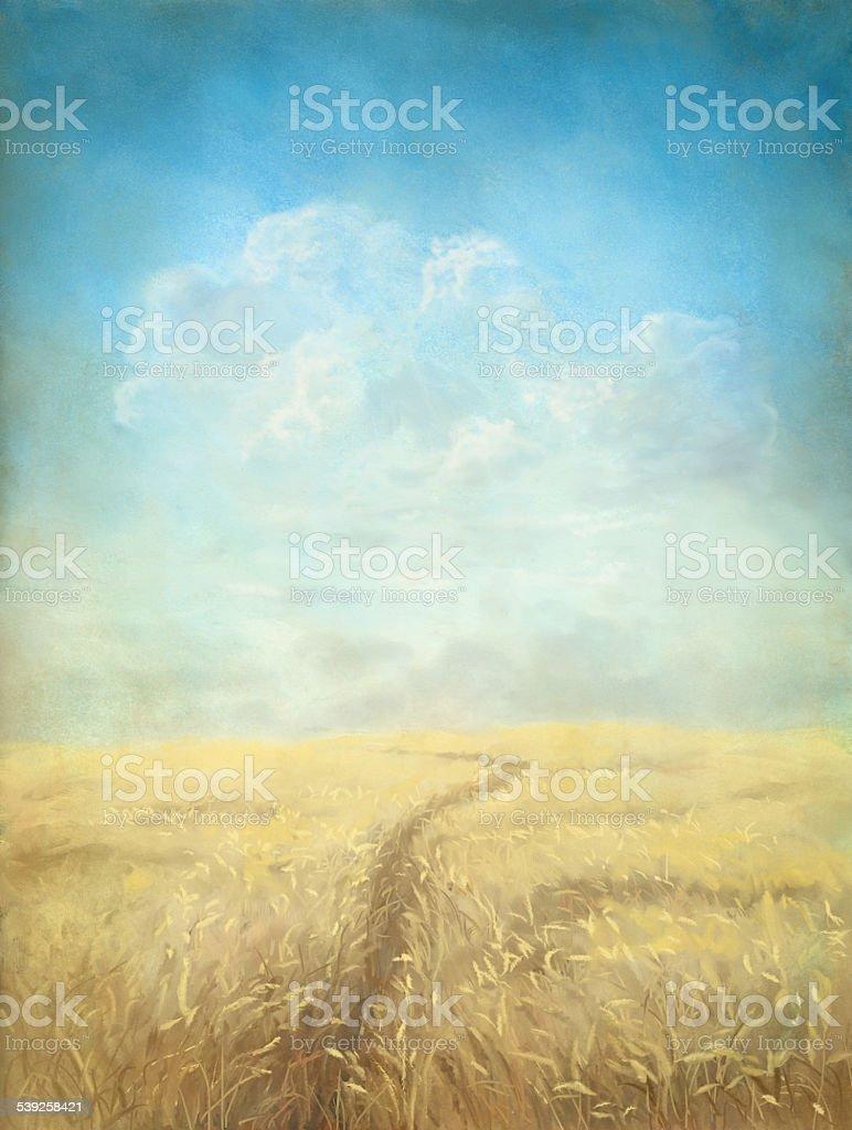 Through The Grain Field vector art illustration