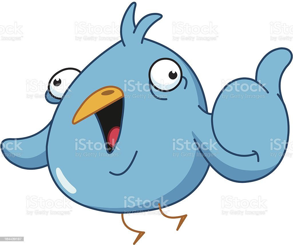 Thumb up bird vector art illustration
