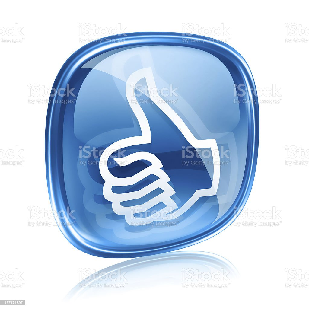 thumb up icon blue glass, isolated on white background. royalty-free stock vector art