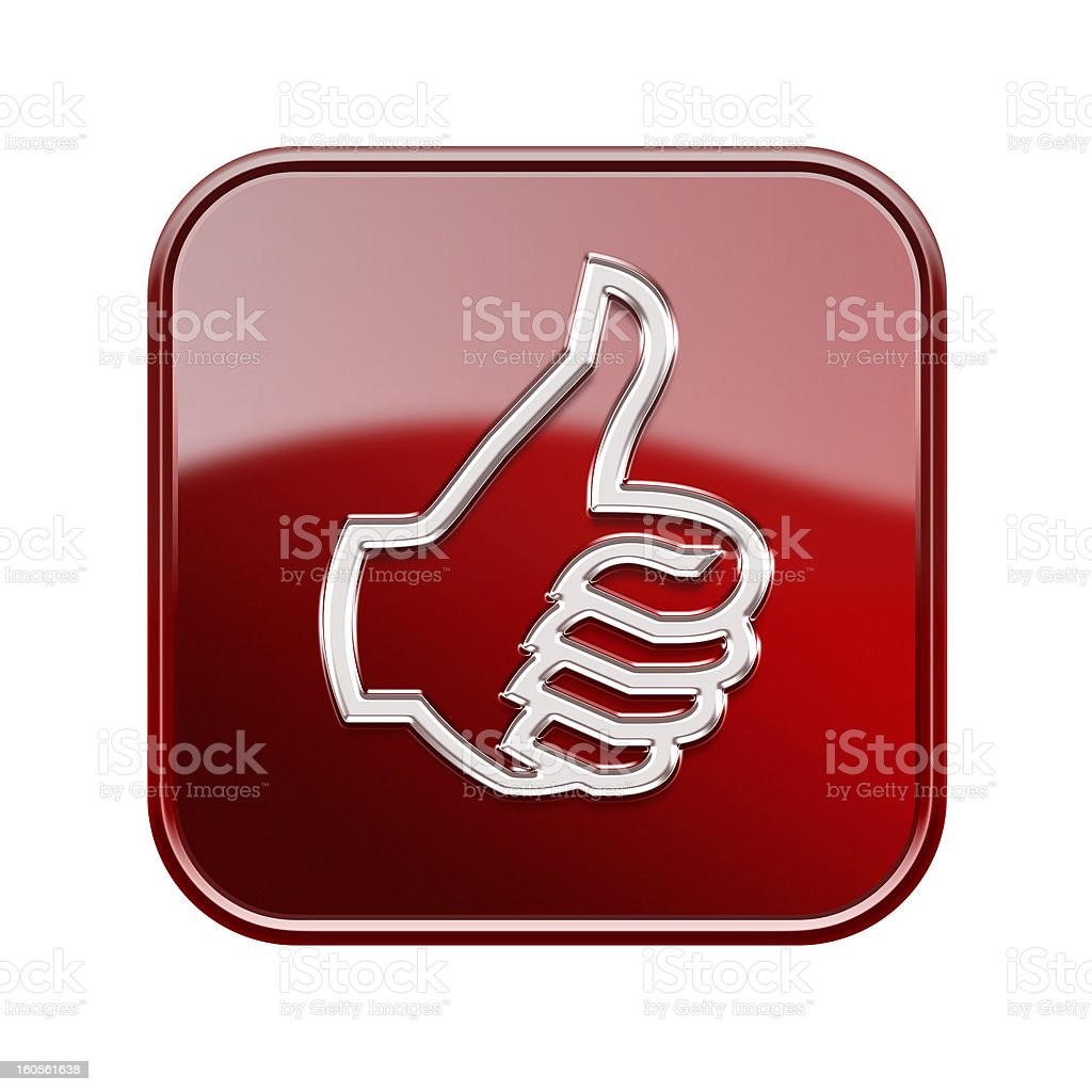 thumb up icon glossy red, isolated on white background royalty-free stock vector art