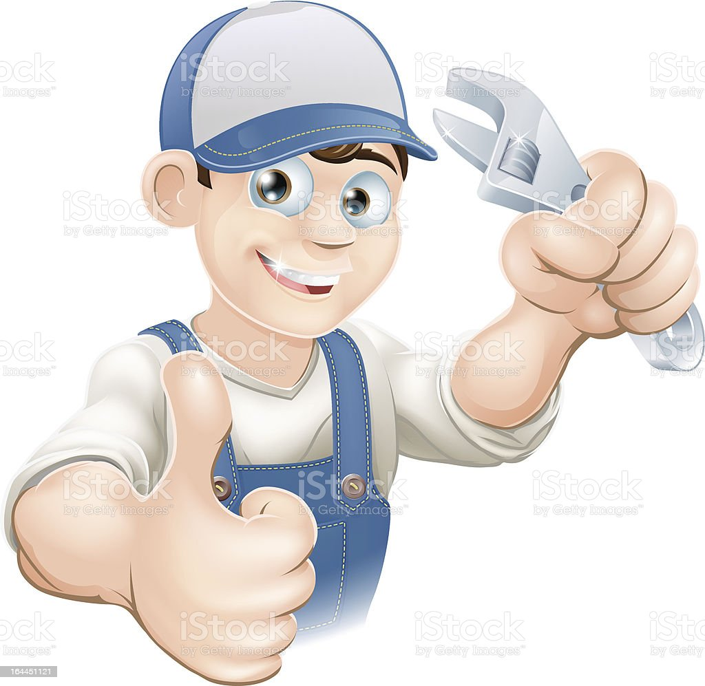 Thumbs up plumber with spanner royalty-free stock vector art