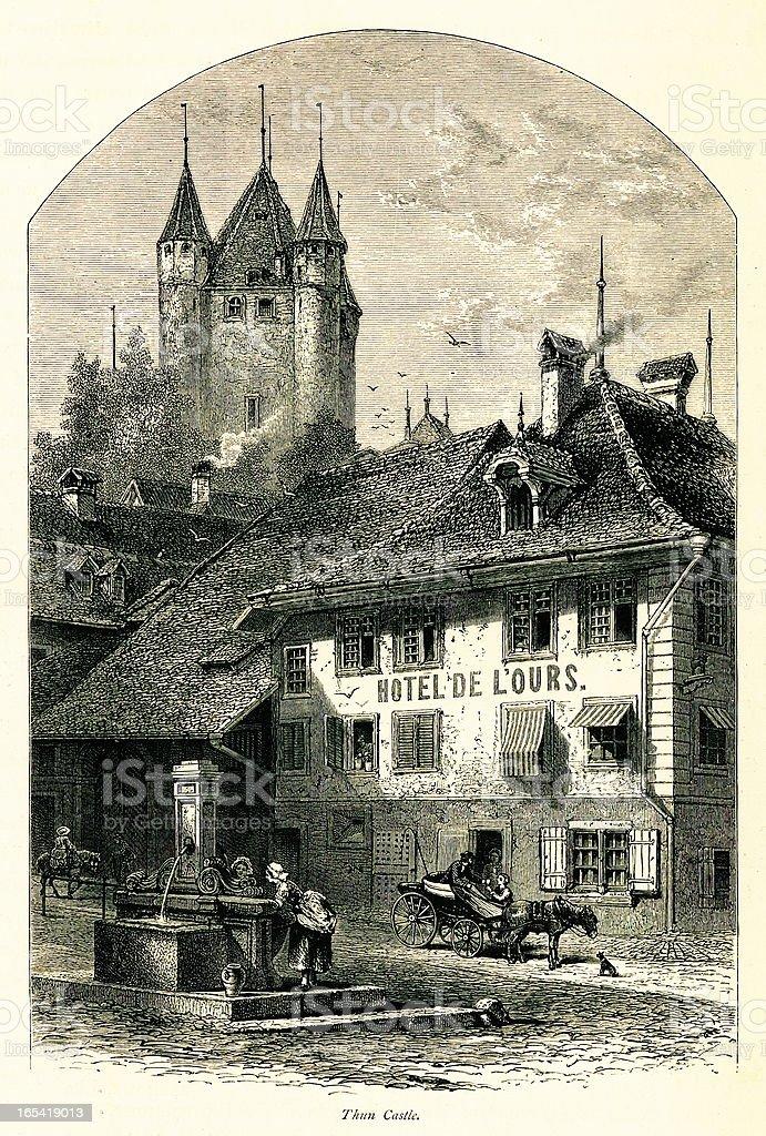 Thun Castle, Switzerland I Antique European Illustrations royalty-free stock vector art