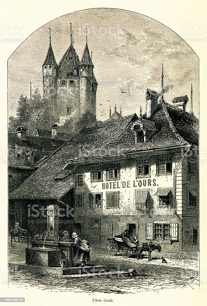 Thun Castle, Switzerland I Antique European Illustrations vector art illustration
