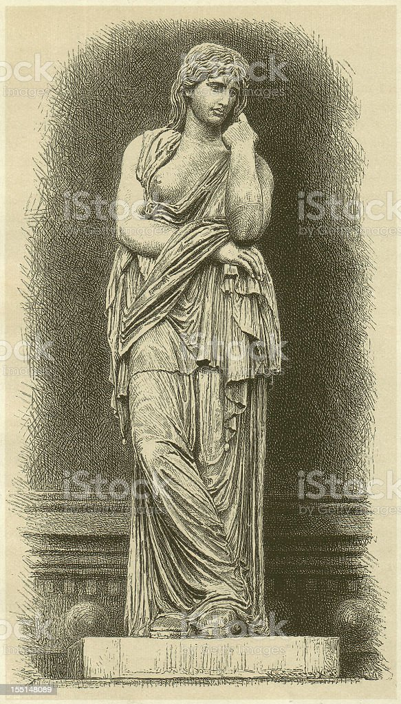 Thusnelda († after May 26, 17), roman statue, published 1880 vector art illustration