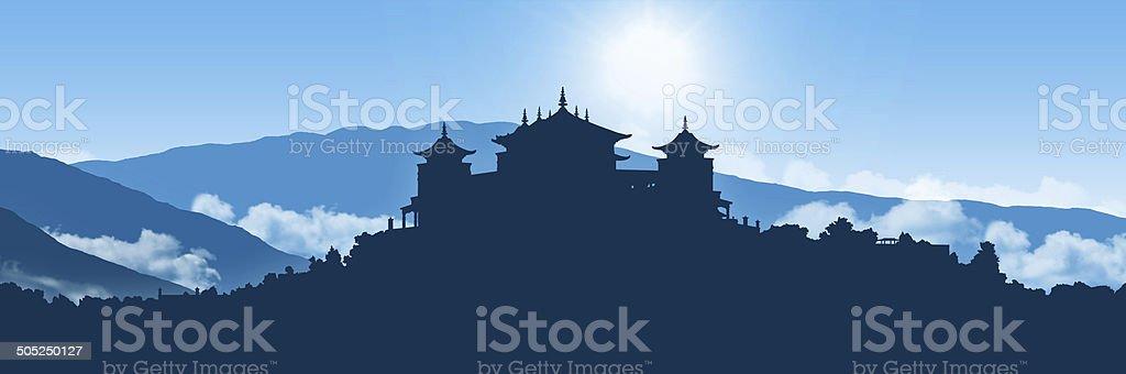 tibetan monastery in himalayas landscape vector art illustration