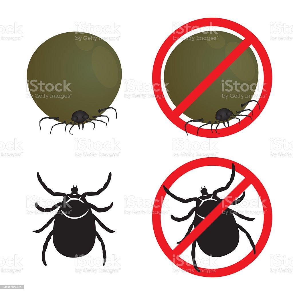 Tick flea and Stop Tick flea sign symbols vector design vector art illustration
