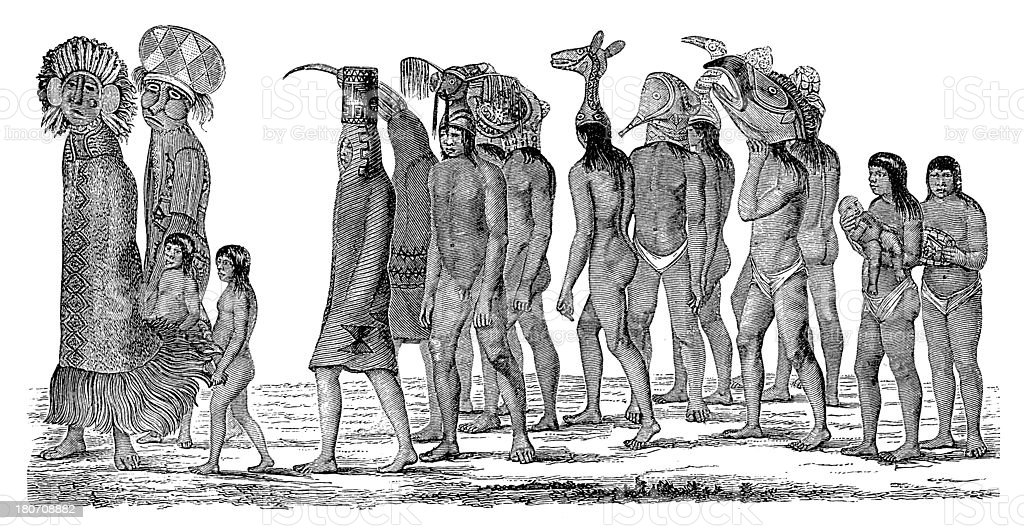 Ticuna people, South America (antique wood engraving) vector art illustration