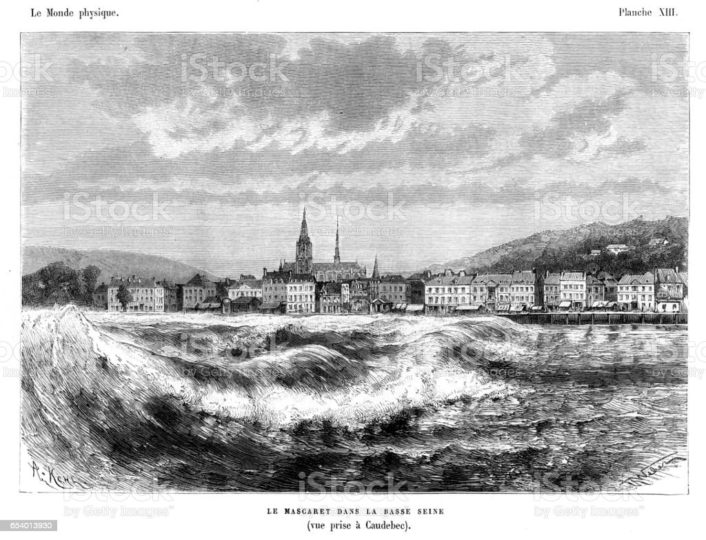 Tidal bore at the river Seine engraving vector art illustration