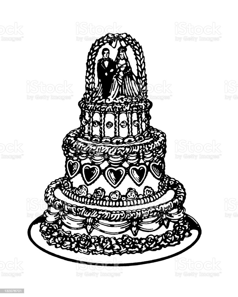 Tiered Wedding Cake vector art illustration