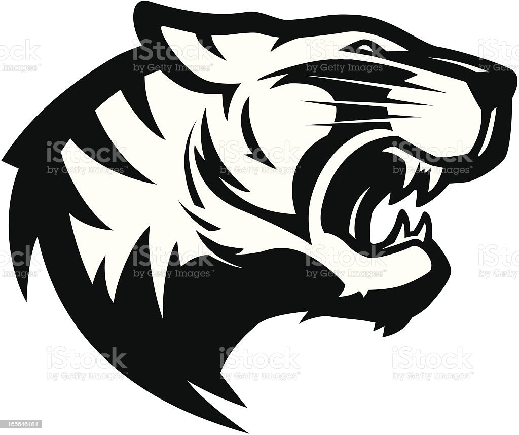 Tiger head mascot 2 B&W vector art illustration