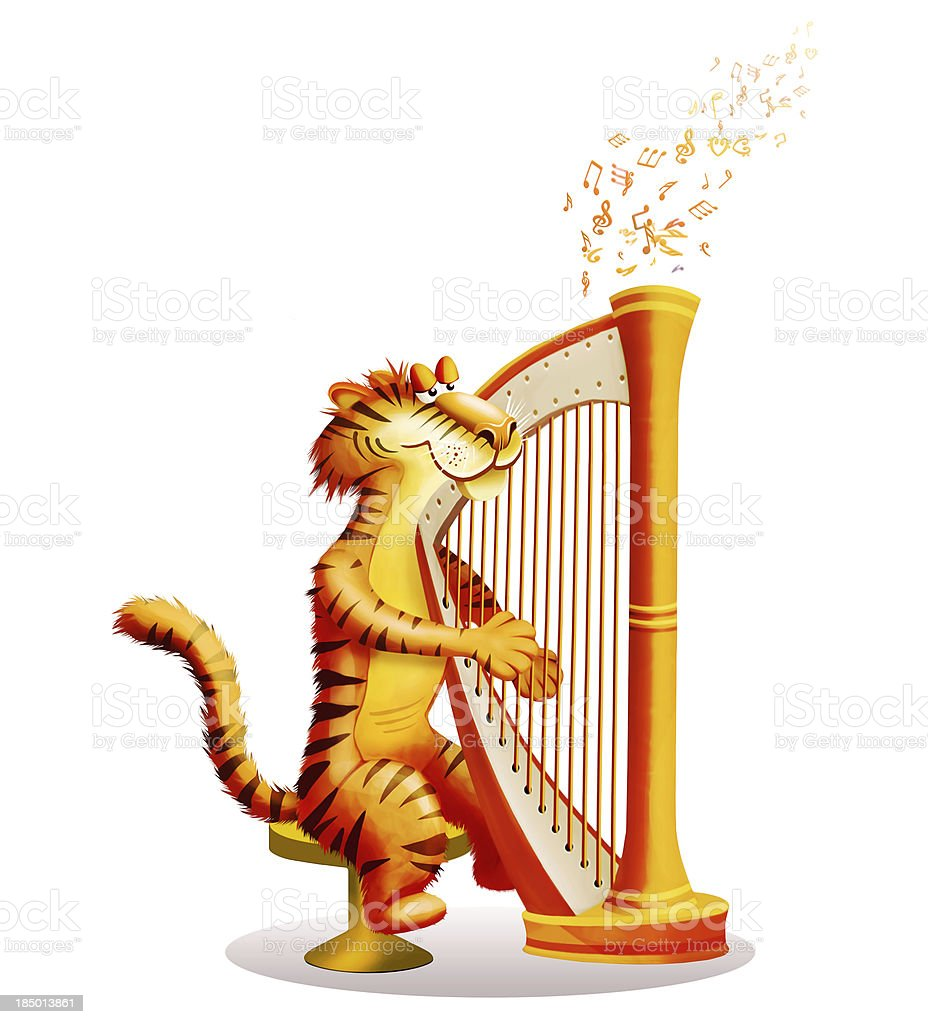 Tiger plays a harp royalty-free stock vector art