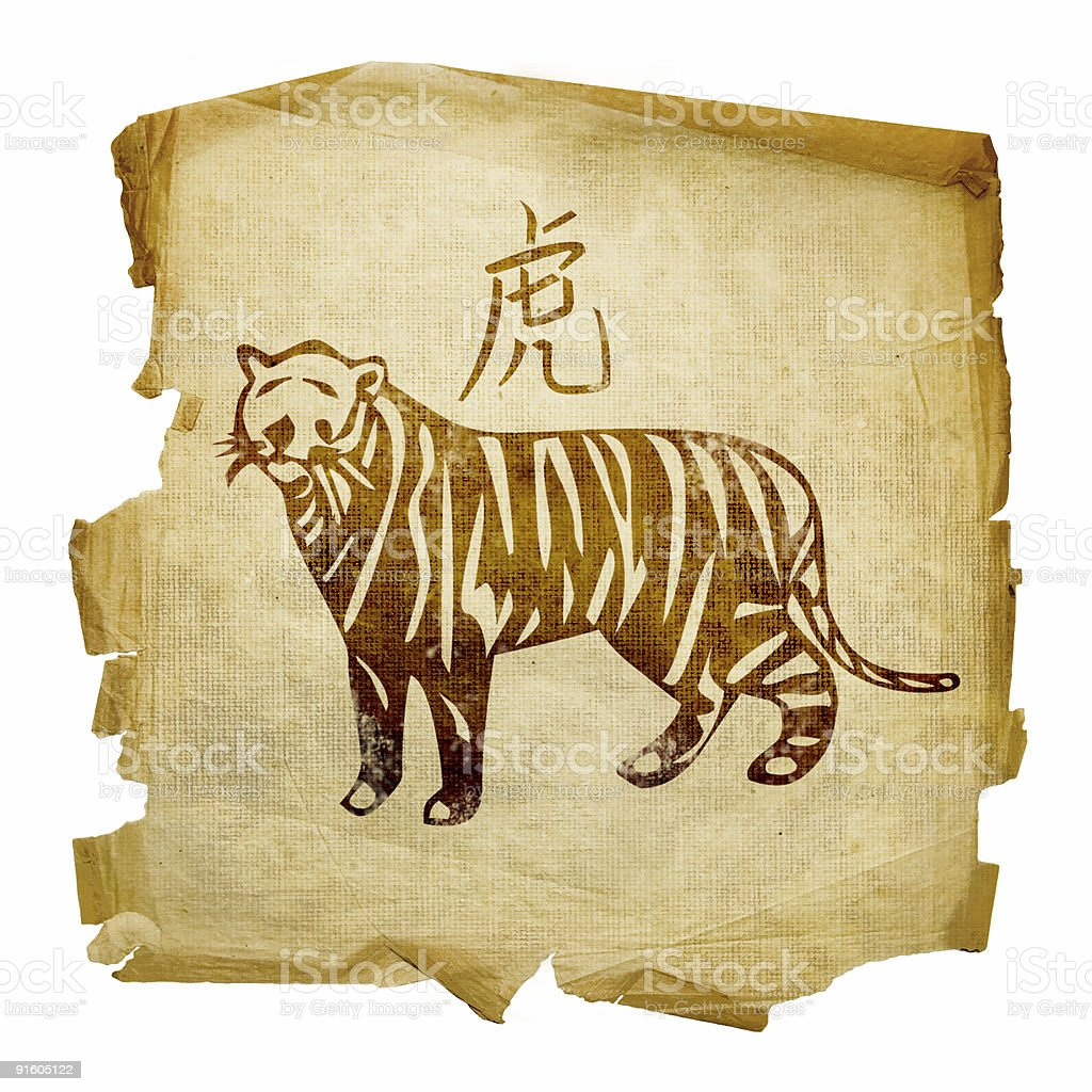 Tiger Zodiac icon, isolated on white background. royalty-free stock vector art