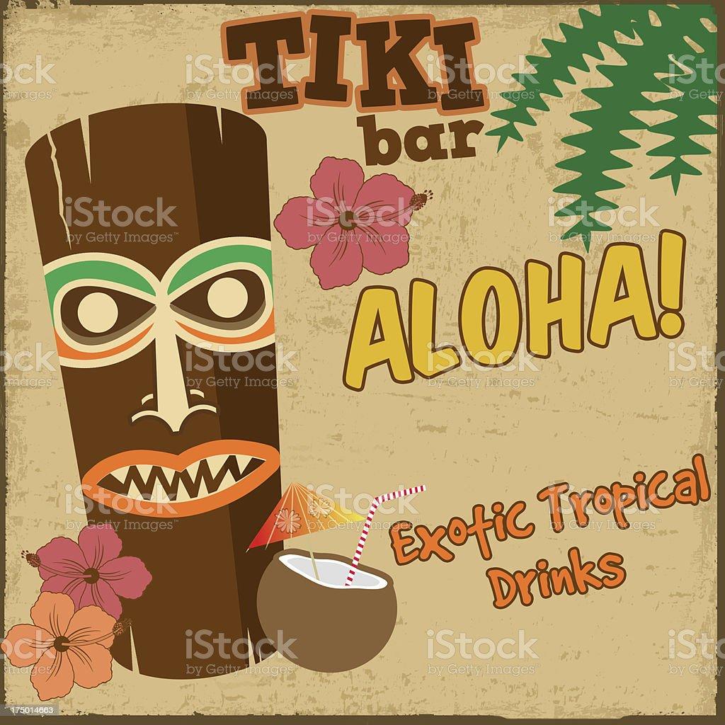 Tiki bar vintage poster vector art illustration