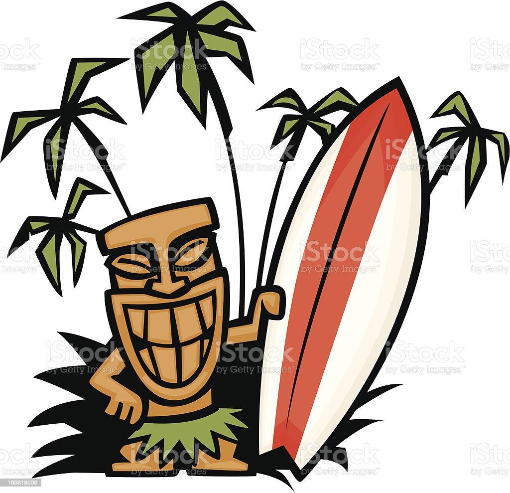 Tiki God Surfboard stock vector art 165818506   iStock