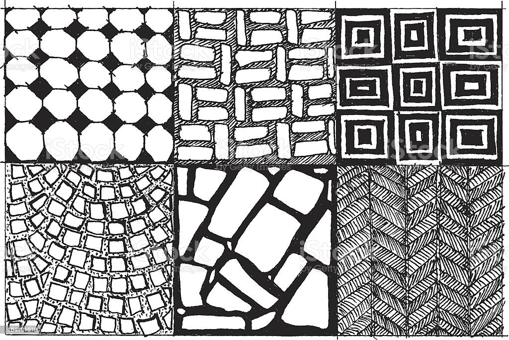 Tiles doodle vector art illustration