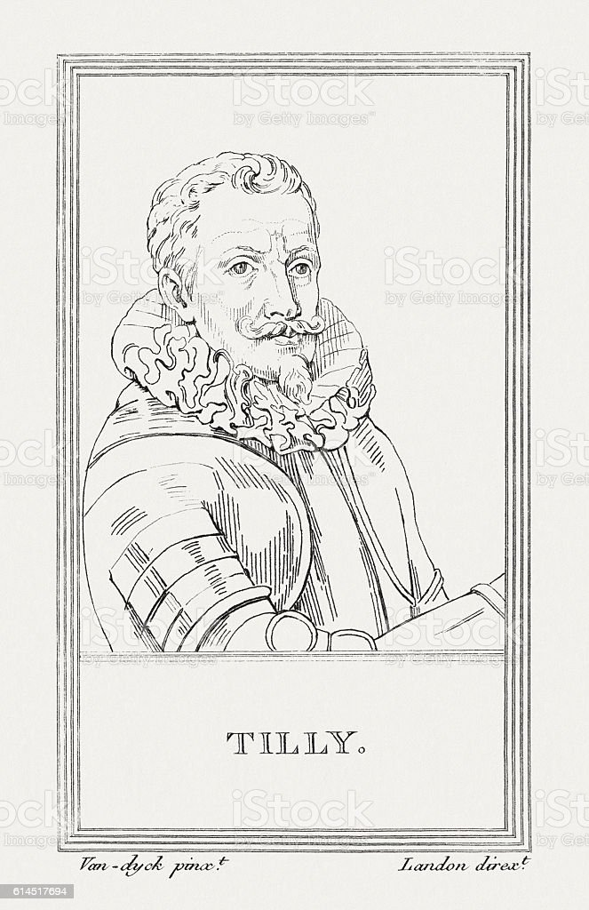 Tilly (1559-1632), Commander of the Thirty Years' War, published 1805 vector art illustration