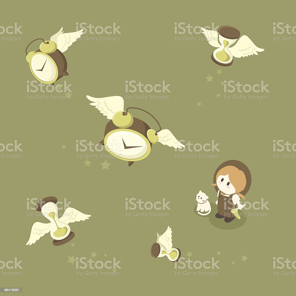 Time Flies: Girl Tries to Catch Flying Clocks and Hourglasses royalty-free stock vector art