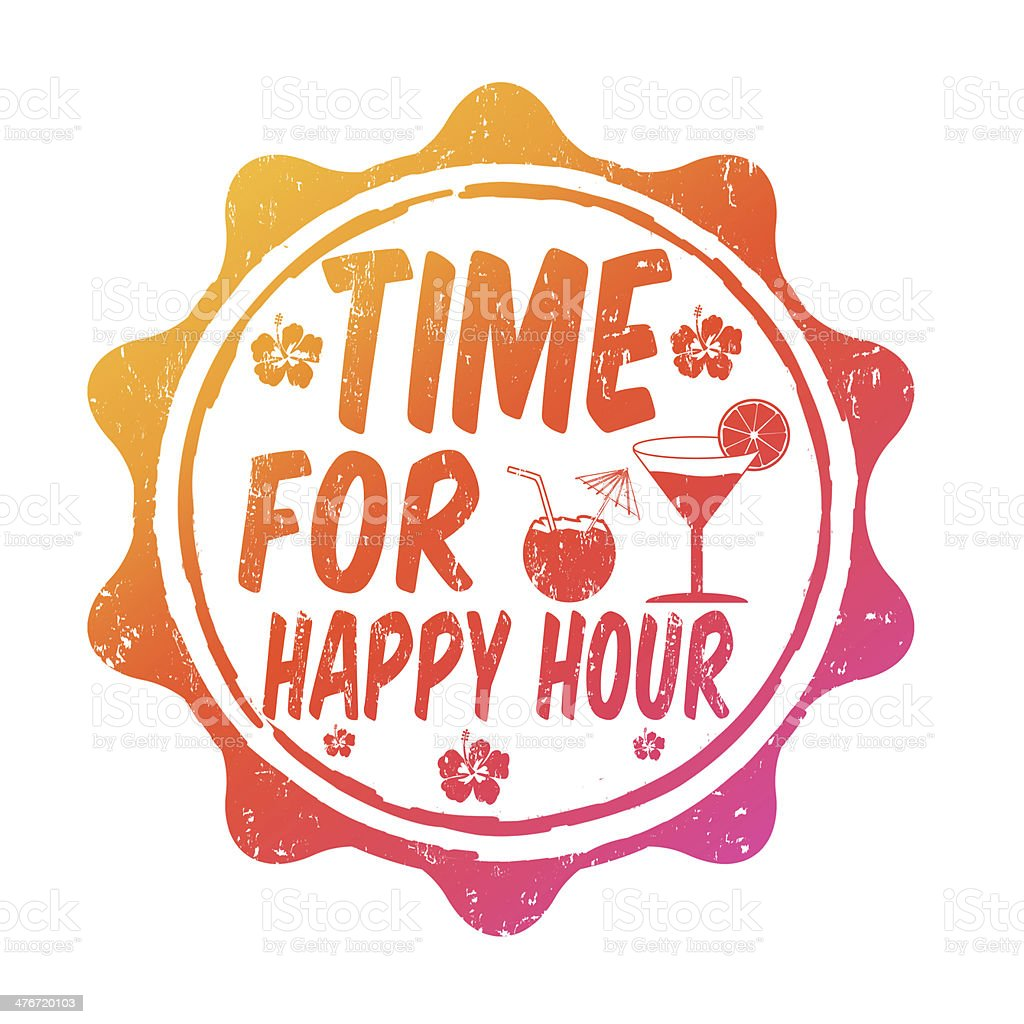 Time for happy hour stamp vector art illustration