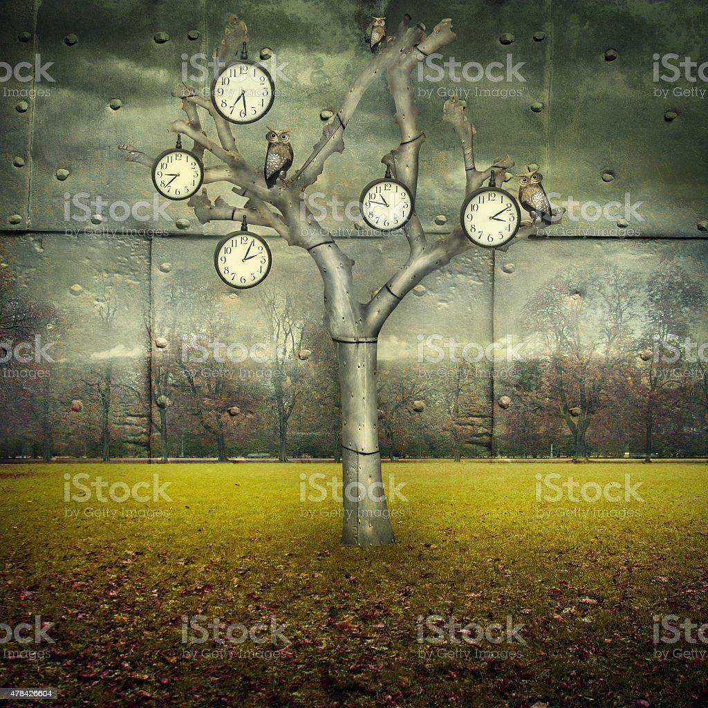 Time Mechanical World vector art illustration