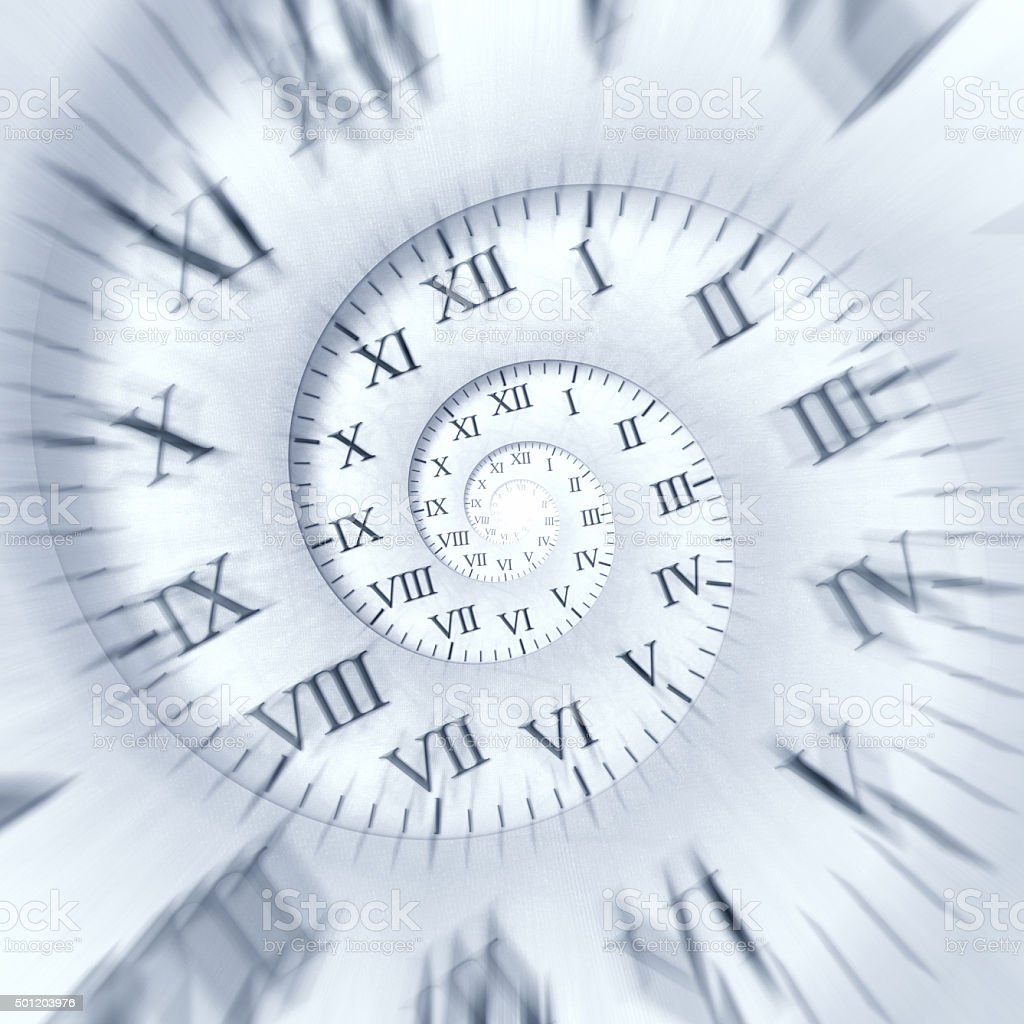 Time runs: clock spiral with zoom effect vector art illustration