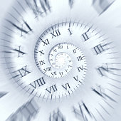 Time runs: clock spiral with zoom effect