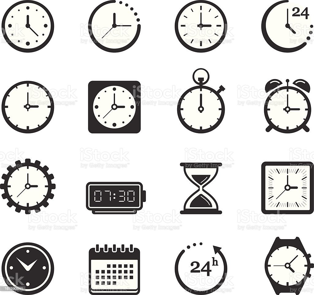 Time/Clock Icons vector art illustration