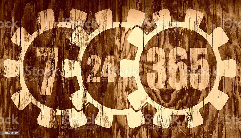timing badge symbol 7, 24, 365 on wood texture vector art illustration