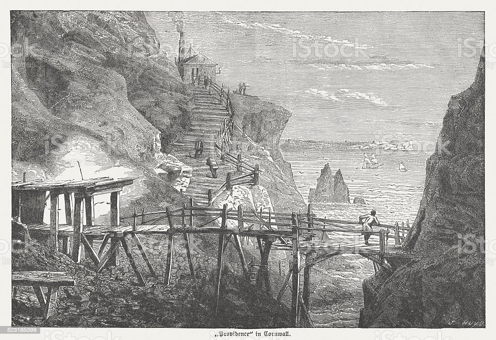 Tin and copper mine 'Providence' in Cornwall, England, published 1877 vector art illustration