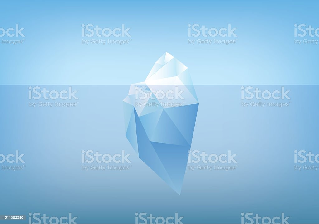 tip of the iceberg illustration -low poly /polygon graphic vector art illustration