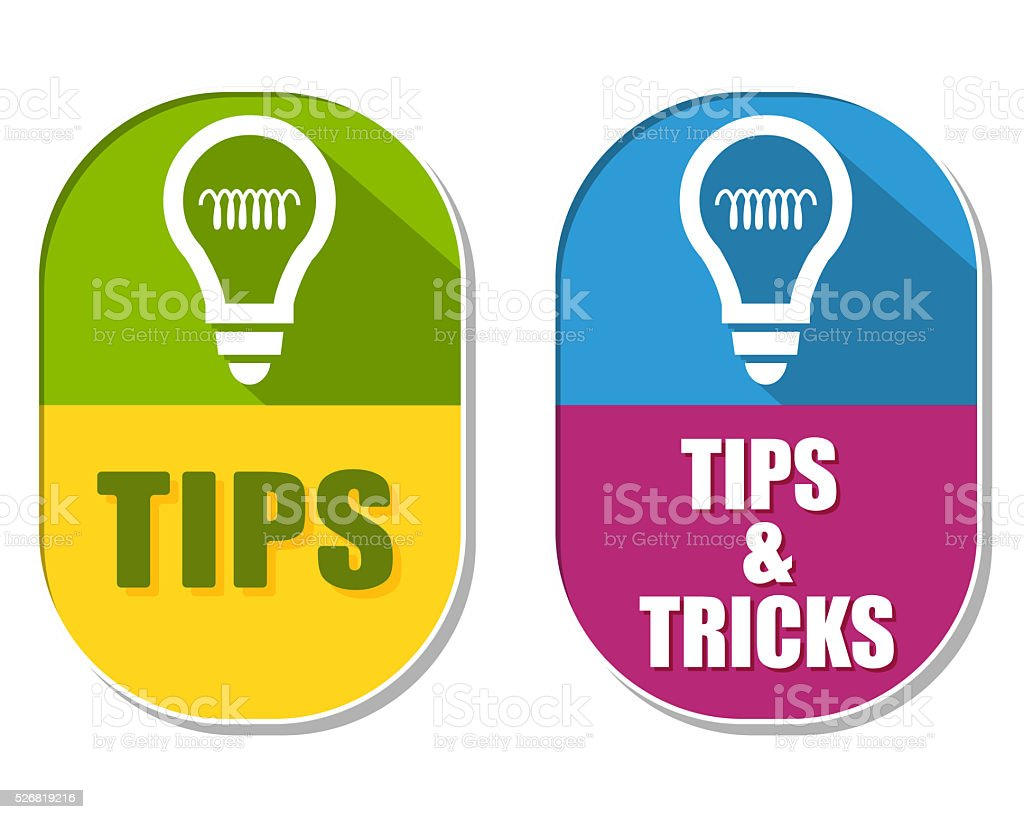 tips and tricks with bulb symbols, two elliptical labels vector art illustration