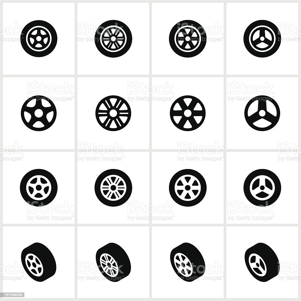Black Tire and Rim Icons vector art illustration
