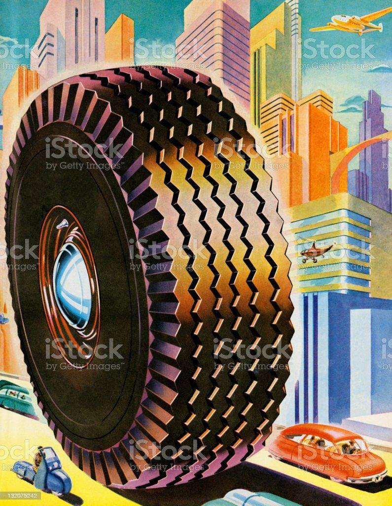 Tire in Futuristic City Scene royalty-free stock vector art