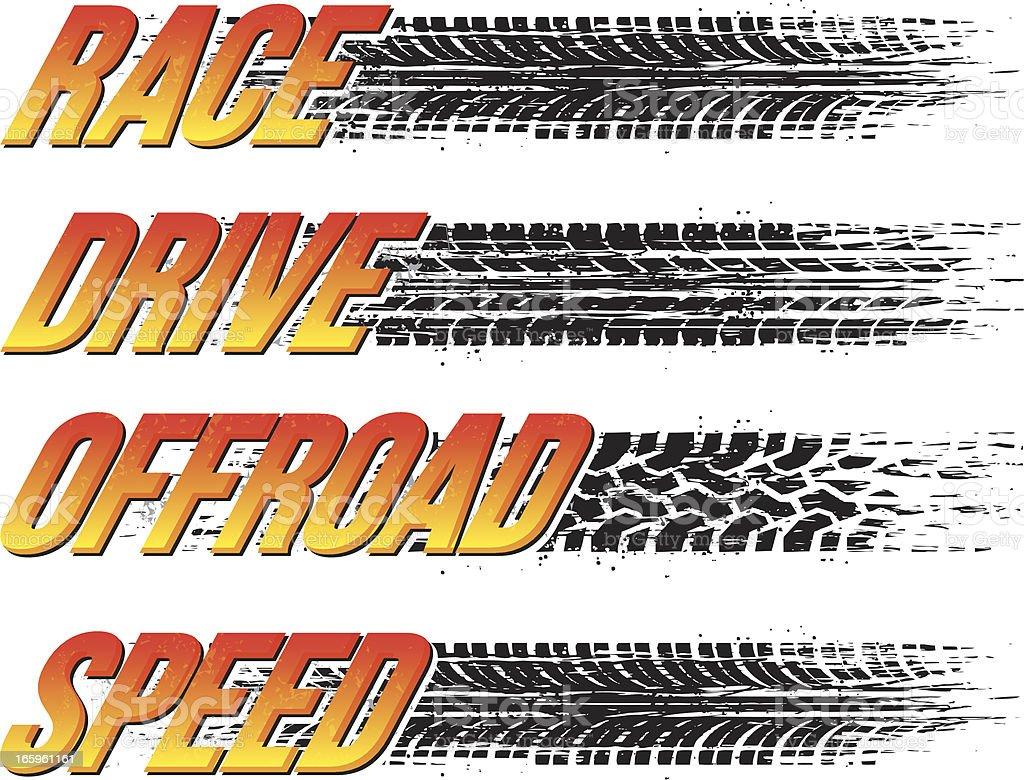 tire tread text vector art illustration