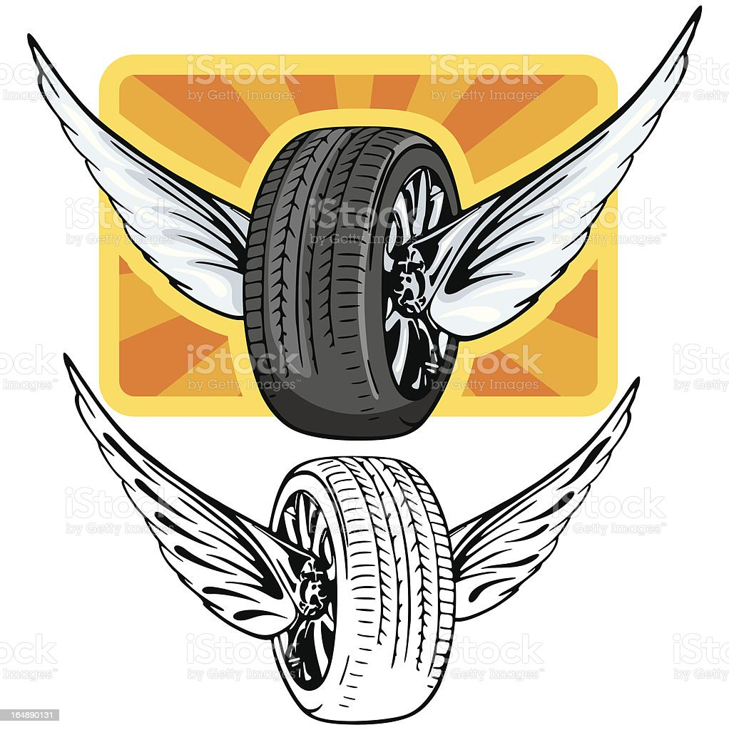 Tire with Wings. (Vector) royalty-free stock vector art