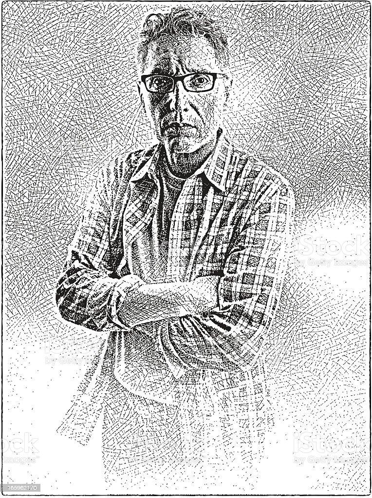 Tired Man vector art illustration