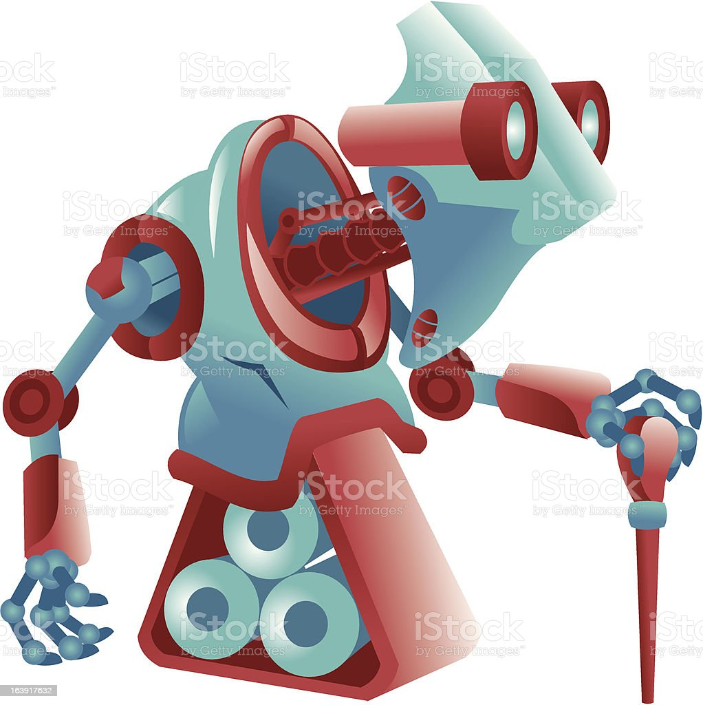 Tired old robot royalty-free stock vector art