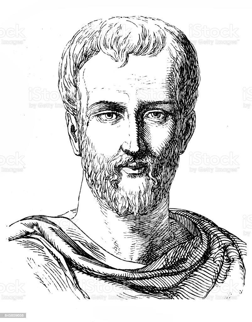 Titus Maccius Plautus (c. 254 – 184 BC), commonly known as Plautus vector art illustration