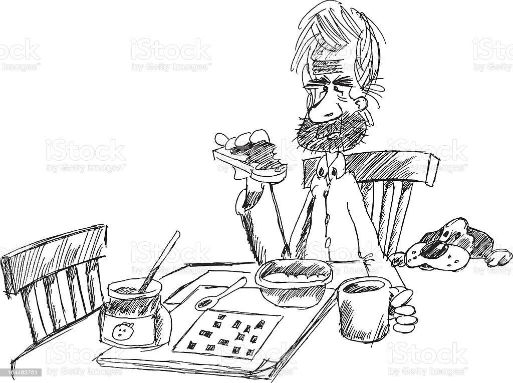 Toast, coffee and crosswords vector art illustration